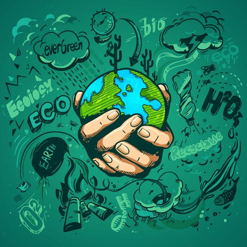 dibujo de las manos de una persona sosteniendo al planeta tierra