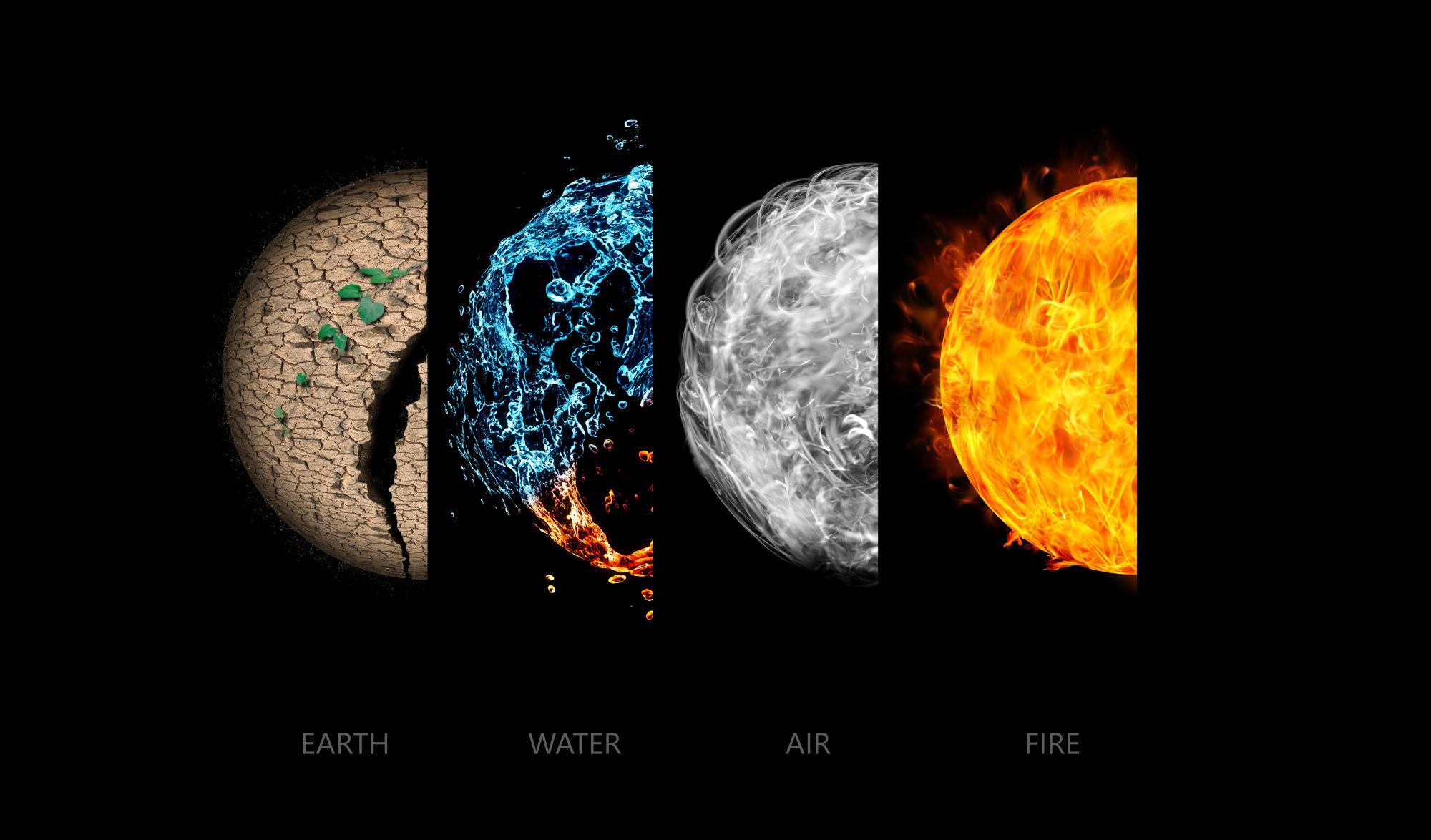 los 4 elementos: tierra, aire, fuego y agua