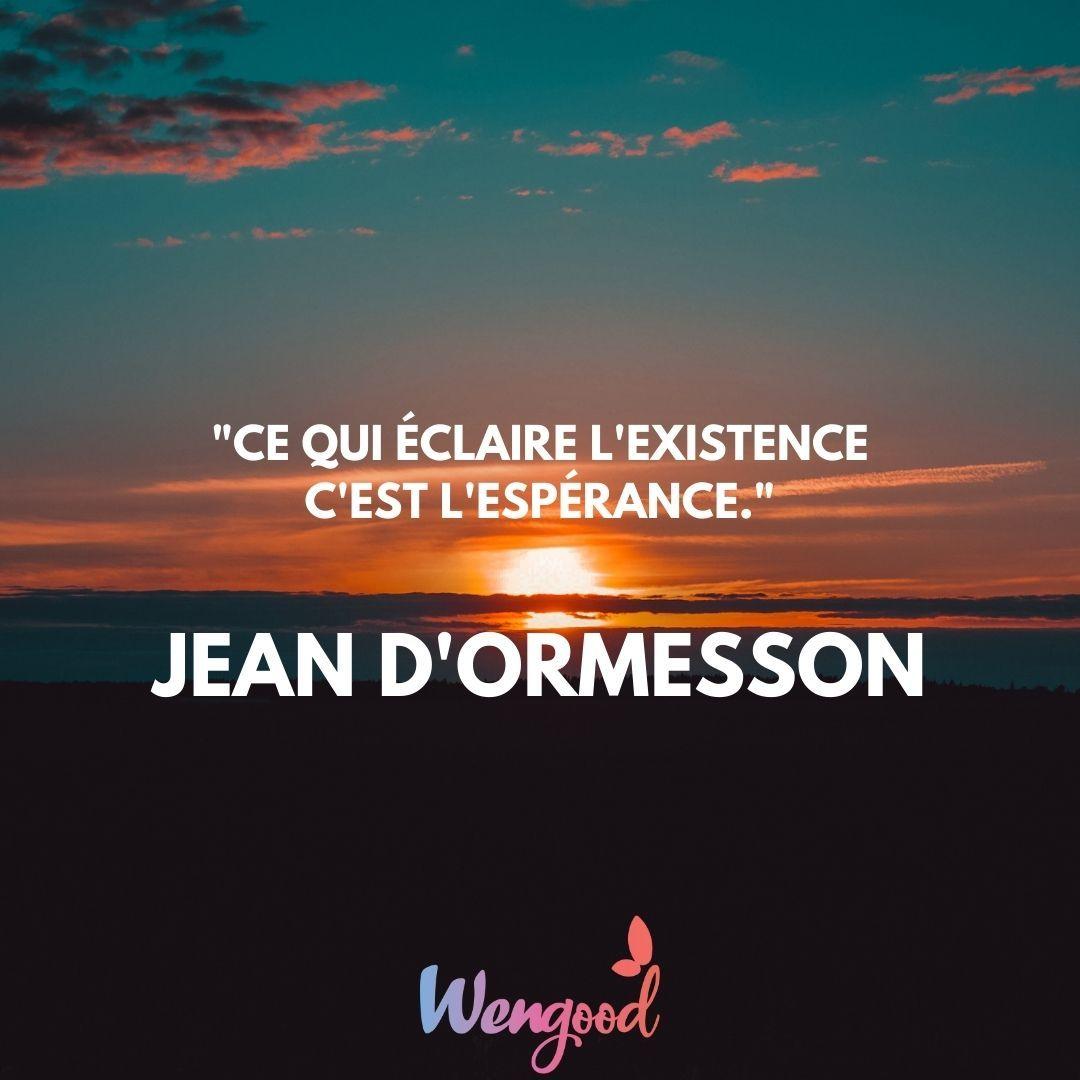 """10. """"Ce qui éclaire l'existence c'est l'espérance."""" Jean d'Ormesson"""