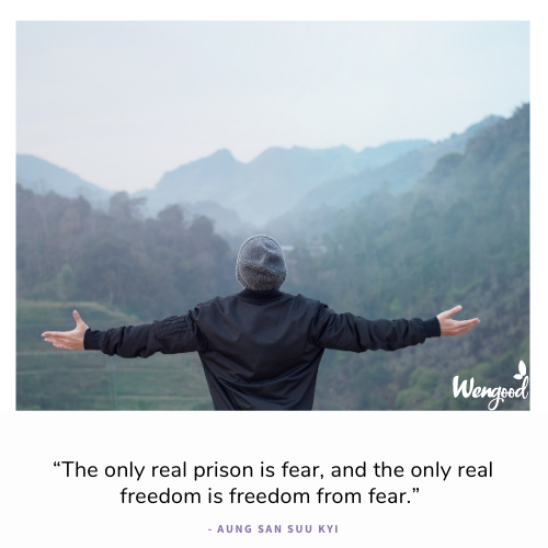 """""""The only real prison is fear, and the only real freedom is freedom from fear."""" - Aung San Suu Kyi"""