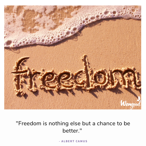 """""""Freedom is nothing else but a chance to be better."""" - Albert Camus"""