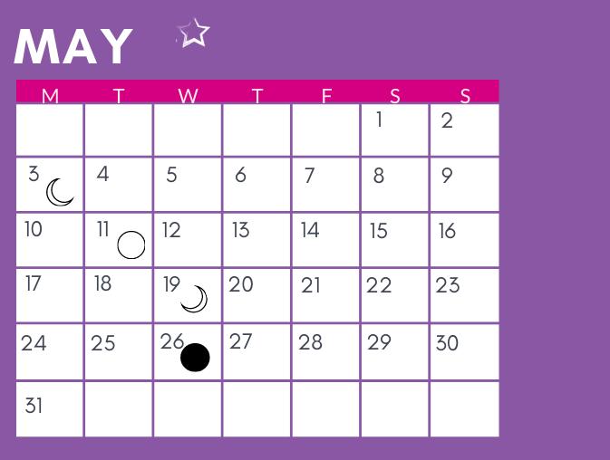 May Moon calendar dates