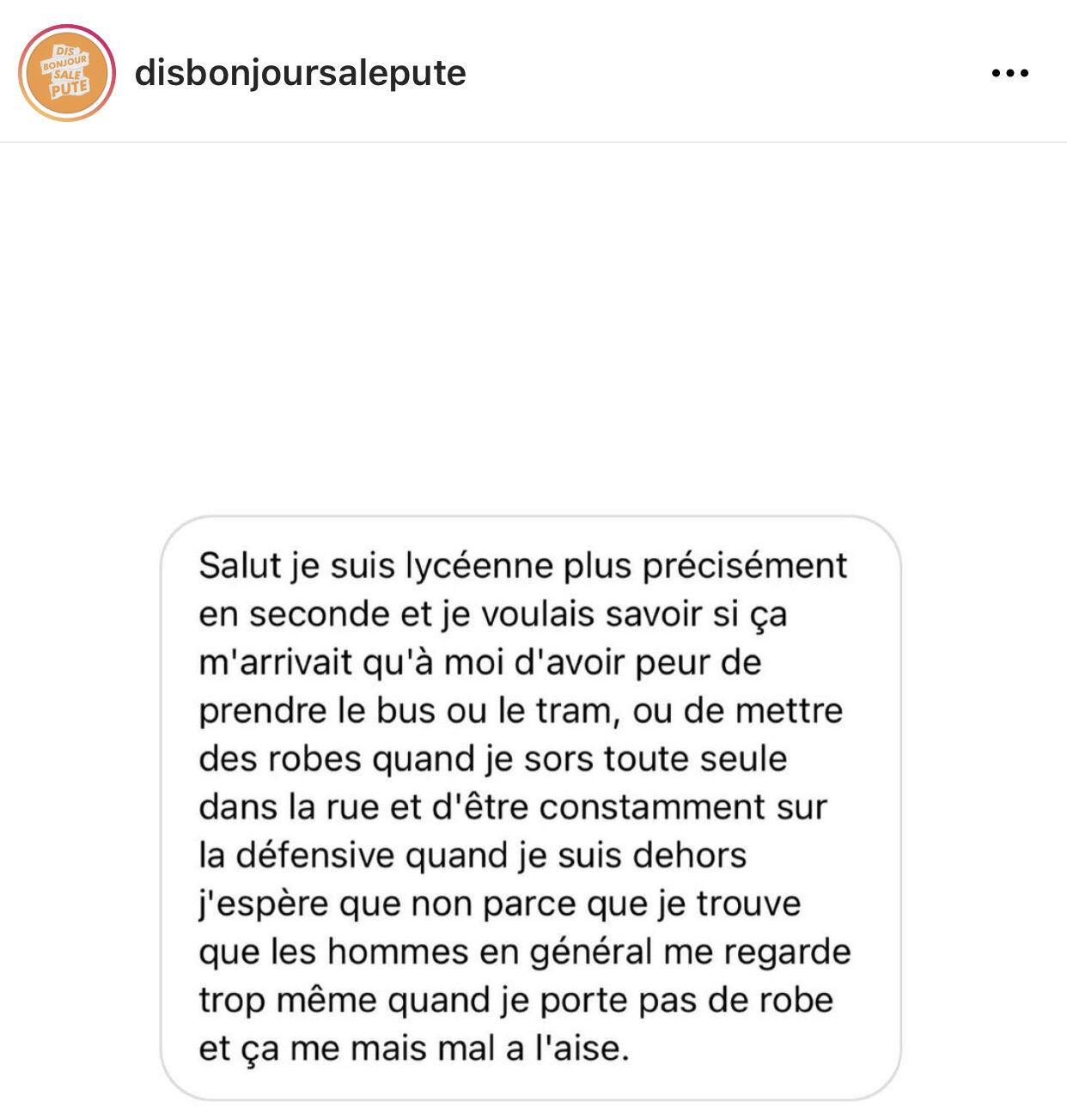 Témoignage partagé sur le compte Instagram Dis bonjour sa pute