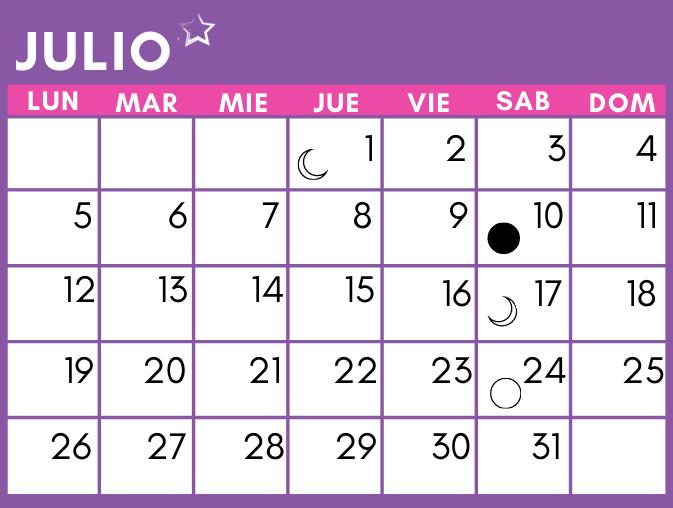 calendario lunar de julio 2021