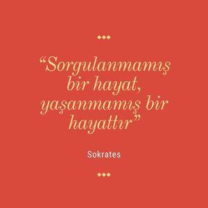 """""""Sorgulanmamış bir hayat, yaşanmamış bir hayattır."""", Sokrates."""