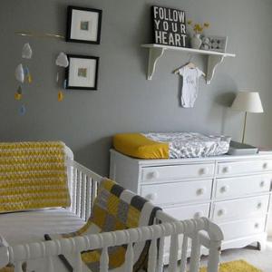 chambre bebe gris jaune