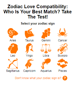 Zodiac love compatibility test